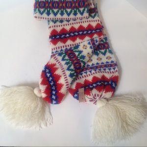 Vintage Aris Acrylic Colorful Pom Pom Knit scarf